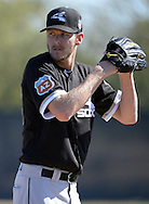 GLENDALE, ARIZONA - FEBRUARY 24:  Chris Sale #49 of the Chicago White Sox pitches during spring training workouts on February 24, 2015 at Camelback Ranch in Glendale Arizona.  (Photo by Ron Vesely)    Subject:  Chris Sale