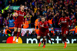 Jordan Henderson of Liverpool celebrates Divock Origi of Liverpool scoring a goal to make it 1-0 - Mandatory by-line: Robbie Stephenson/JMP - 07/05/2019 - FOOTBALL - Anfield - Liverpool, England - Liverpool v Barcelona - UEFA Champions League Semi-Final 2nd Leg