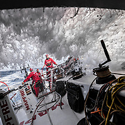 Leg 8 from Itajai to Newport, day 15 on board MAPFRE, back to 20+ kts of boat speed. Rob, Willy, Xabi an Tamara on deck. 06 May, 2018.