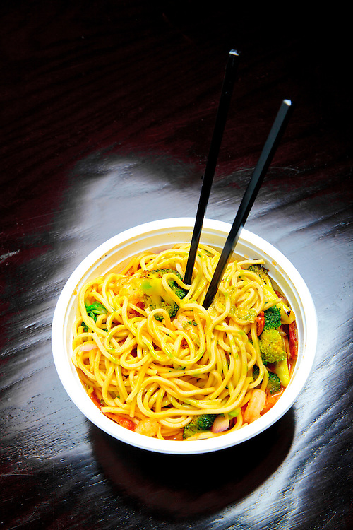 Chinese sausage, shrimp, broccoli, noodles,  and lobster sauce at the American Noodle Bar in Miami