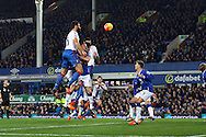 Mile Jedinak of Crystal Palace sees his header go wide of goal. Barclays Premier league match, Everton v Crystal Palace at Goodison Park in Liverpool, Merseyside on Monday 7th December 2015.<br /> pic by Chris Stading, Andrew Orchard sports photography.