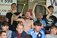 The Wycombe fans sing to the drummers beat during the EFL Sky Bet League 1 match between Wycombe Wanderers and Oxford United at Adams Park, High Wycombe, England on 15 September 2018.