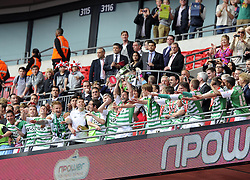 Yeovil Town's Jamie McAllister Lifts the League one Play off Trophy as he and his Yeovil Team mates celebrate winning the League One Play Off Final  - Photo mandatory by-line: Joe Meredith/JMP - Tel: Mobile: 07966 386802 19/05/2013 - SPORT - FOOTBALL - LEAGUE 1 - PLAY OFF - FINAL - Wembley Stadium - London - Brentford V Yeovil Town