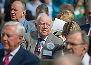 Arthur Stimson '38 listens to comments during a groundbreaking ceremony at Lamar High School, March 30, 2017.