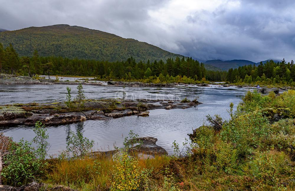 The river Otra at Hoslemo in Setesdalen (Bykle, Agder, Norway) in September.