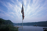 Scenic view with American flag hanging from a pole