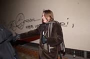 Sarah Lucas, Opening of Carl Freidman's Counter Editions, Charlotte Rd. 11 March 2003. © Copyright Photograph by Dafydd Jones 66 Stockwell Park Rd. London SW9 0DA Tel 020 7733 0108 www.dafjones.com