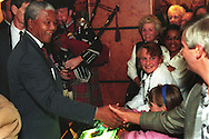 Nelson Mandela arrives at Hilton Hotel, Glasgow, Scotland, on 9th October 1993. Mandela was in Glasgow to receive the 'Freedom of the City' honour.