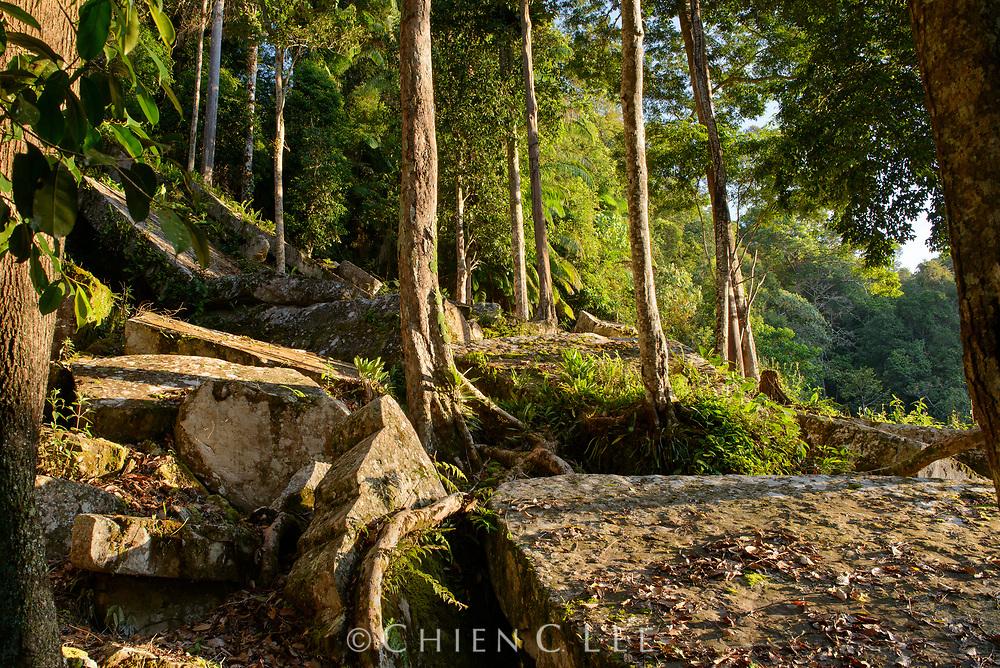 Large sandstone blocks litter a hillside at Payeh Maga in northern Borneo. Sarawak, Malaysia.