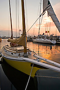 """Newport, RI 2008 - """"Little Dipper"""" with sunset behind. Tied up at Bowen's landing in Newport"""
