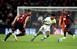 Norwich City's Onel Hernandez and Bournemouth's Simon Francis (left) battle for the ball during the Carabao Cup, Fourth Round match at the Vitality Stadium, Bournemouth.