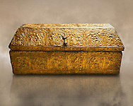 Gothic embossed Brass on wood box, circa 1370-1450, possibly made in Barcelona, Catalunya. National Museum of Catalan Art, Barcelona, Spain, inv no: MNAC 5361. .<br /> <br /> If you prefer you can also buy from our ALAMY PHOTO LIBRARY  Collection visit : https://www.alamy.com/portfolio/paul-williams-funkystock/gothic-art-antiquities.html  Type -     MANAC    - into the LOWER SEARCH WITHIN GALLERY box. Refine search by adding background colour, place, museum etc<br /> <br /> Visit our MEDIEVAL GOTHIC ART PHOTO COLLECTIONS for more   photos  to download or buy as prints https://funkystock.photoshelter.com/gallery-collection/Medieval-Gothic-Art-Antiquities-Historic-Sites-Pictures-Images-of/C0000gZ8POl_DCqE