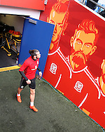 Gareth Bale of Wales admires the artwork of himself and Joe Ledley  as he arrives for  the Wales football team training at the Cardiff city Stadium in Cardiff , South Wales on Saturday 8th October 2016, the team are preparing for their FIFA World Cup qualifier home to Georgia tomorrow. pic by Andrew Orchard, Andrew Orchard sports photography
