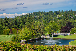USA, Washington, Bellevue. pond with fountain in Medina Park
