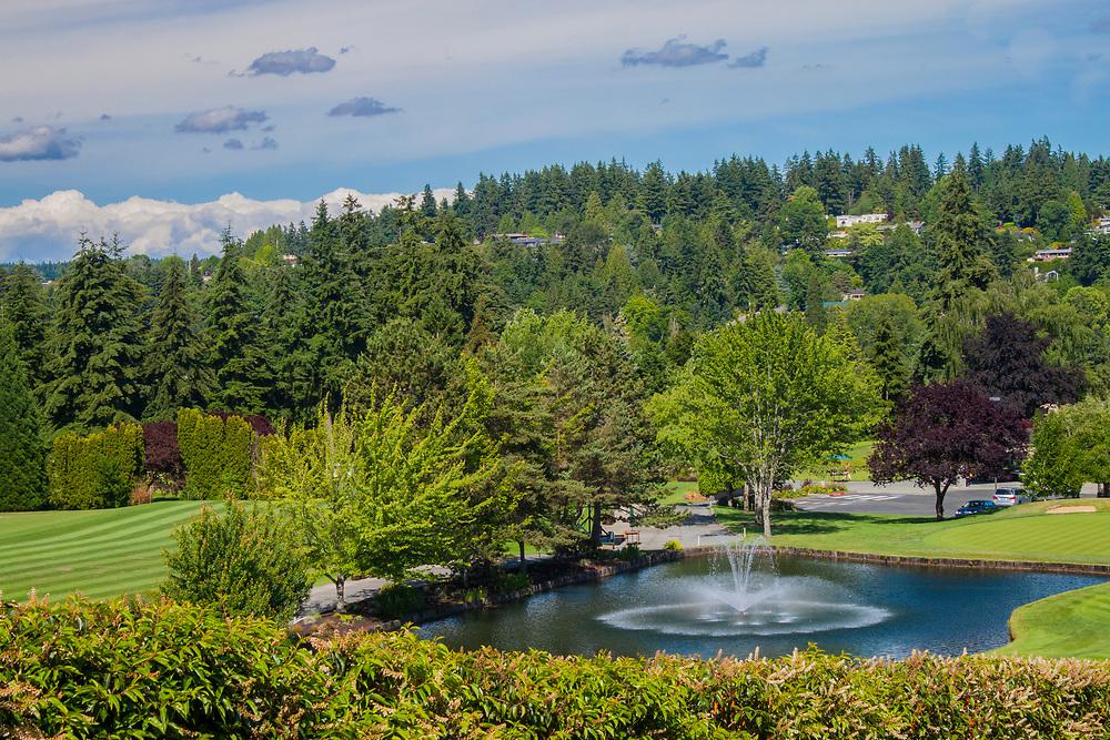 USA, Washington, Bellevue. pond with fountain in Medina Park