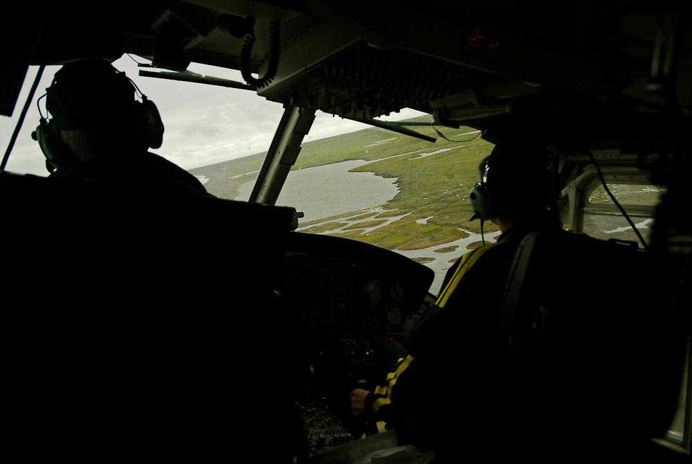 Alaska, Barrow. Barrow Search and Rescue helicopetr flight.  July 2007