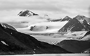 Ancient mountains and glaciers at Albert Land, north-western Spitsbergen, Svalbard, Norway.