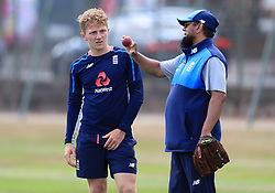 England's Dominic Bess (left) with spin bowling consultant Saqlain Mushtaq during a nets session at Edgbaston, Birmingham.