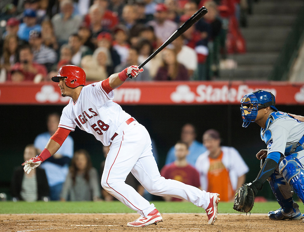 The Angels' Carlos Perez singles in two run in the fifth inning against the Kansas City Royals Tuesday night at Angel Stadium.<br /> <br /> ///ADDITIONAL INFO:   <br /> <br /> angels.0427.kjs-pre  ---  Photo by KEVIN SULLIVAN / Orange County Register  --  4/26/16<br /> <br /> The Los Angeles Angels take on the Kansas City Royals Tuesday at Angel Stadium.<br /> <br /> <br />  4/26/16