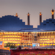 Kauffman Center for the Performing Arts at dusk, taken from the top of a Crossroads District parking garage.