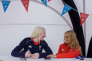 Partially-sighted skiing paralympian from the Sochi Olympics, Kelly Gallagher and her sighted guide Charlotte Evans at the National Paralympic Day, Stratford, London. Gallagher was one of seven skiers for Great Britain at the 2010 Winter Paralympics and became the first athlete from Northern Ireland to compete in the Winter Paralympics. Following the Paralympics Gallagher sought a new sighted guide to work with her through to the 2014 Winter Paralympics in Sochi and selected 19-year-old Charlotte Evans from Medway. Kelly Marie Gallagher, MBE is a Northern Irish skier and the first athlete from Northern Ireland to compete in the Winter Paralympics. Gallagher won Britain's first ever Winter Paralympic gold medal during Sochi 2014.