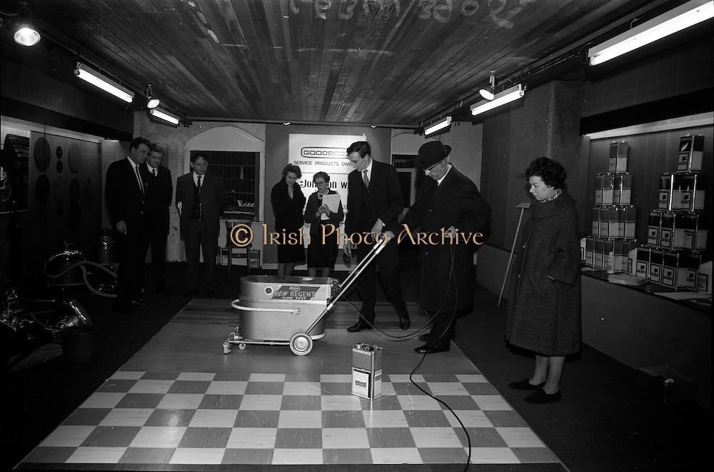 23/03/1966<br /> 03/23/1966<br /> 23 March 1966<br /> Exhibition of Columbus-Dixon Floor Maintenance Equipment and a range of Johnson Wax products run by Goodbody Ltd. at the Building Centre, Dublin. Pictured at the event is Mr Thomas Swan, Cleaning Supervisor, C.I.E., trying out some of the products.