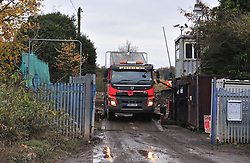 © Licensed to London News Pictures.18/11/2017.<br /> Orpington, UK.<br /> A truck full of waste leaving the site today.<br /> The infamous Waste4fuel rubbish site in Orpington is due to be totally clear of waste on Monday. Work began to clear the site from 27.000 tons of waste a year ago at Cornwall Drive, Now the site has about 27 tons of rubbish left to clear. Altogether the clearance cost of the waste mountain has come to around £4.5 million with most of the money coming from government and the Enviroment Agency.<br /> Photo credit: Grant Falvey/LNP