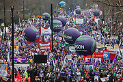 TUC March for the Alternative 26 March 2011 Begins on Embankment, London.