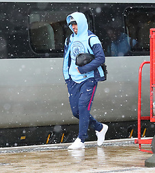 Sergio Aguero and The Manchester City team are seen at Manchester Piccadilly Train Station on Thursday morning as they make their trip to London to face Arsenal in the premier league