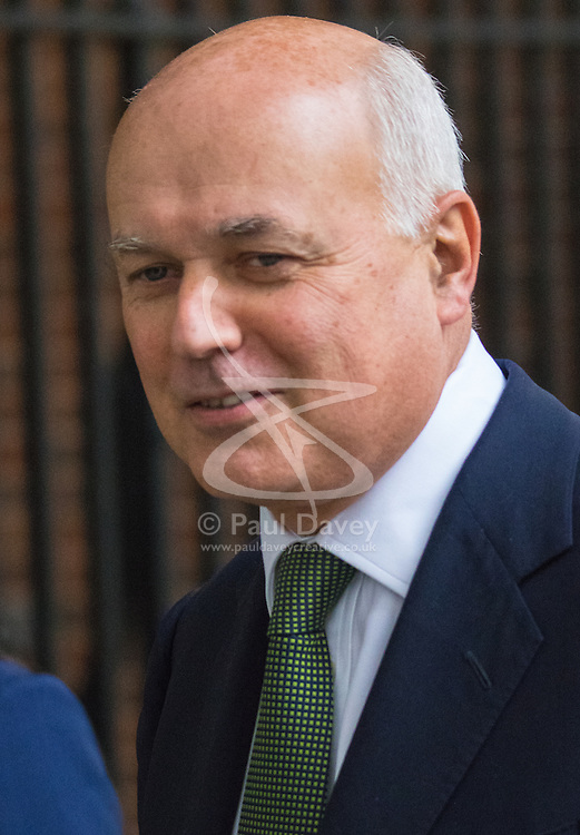 Downing Street, London, September 8th 2015. Work and Pensions Secretary Iain Duncan-Smith leaves 10 Downing Street following the first cabinet meeting after the summer holidays, prior to a debate in the House of Commons on the refugee crisis.