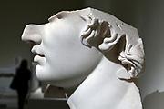 side view of broken marble head, Greek, Hellenistic period