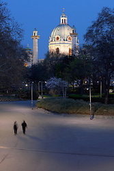 Saint Charles Karlplatz church dome night Vienna