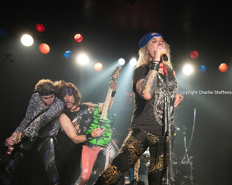 L to R: LEXXI FOXX, SATCHEL, and MICHAEL STARR of Steel Panther at the Viper Room in Los Angeles, California