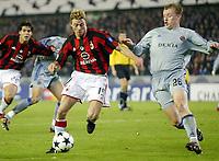 Fotball, 4. november 2003, Champions League,, Club Brugge ( Brügge )-Milan, Jon Dahl Tomassen, Milan mot, Birger Maertens, Brugge