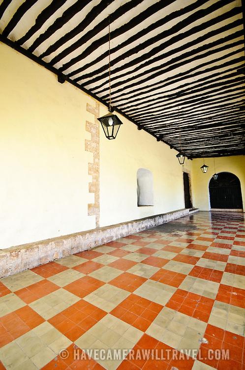 A tiled corridor at the Cathedral of San Bernadino in Valladolid, Yucatan, Mexico.
