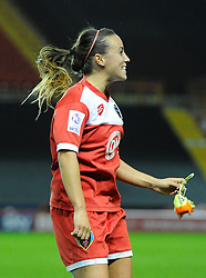 Bristol Academy Womens' Natasha Harding celebrates on the final whistle  - Photo mandatory by-line: Joe Meredith/JMP - Mobile: 07966 386802 - 13/11/2014 - SPORT - Football - Bristol - Ashton Gate - Bristol Academy Womens FC v FC Barcelona - Women's Champions League