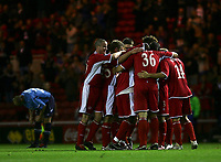 Photo: Andrew Unwin.<br />Middlesbrough v Dnipro. UEFA Cup. 03/11/2005.<br />Middlesbrough celebrate Mark Viduka's (#36) goal.