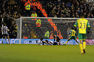 WBA keeper Boaz Myhill is dejected as Norwich city's Leroy Fer (10)  scores his sides 2nd goal. Barclays Premier league, West Bromwich Albion v Norwich city at the Hawthorns in West Bromwich, England on Sat 7th Dec 2013. pic by Andrew Orchard, Andrew Orchard sports photography.