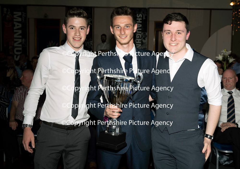 St Johnstone FC Player of the Year Awards 2017-18<br />Social Media Player of the Year is Scott Tanser presented by Kerr Hall (left) and Ross Gardiner<br />Picture by Graeme Hart.<br />Copyright Perthshire Picture Agency<br />Tel: 01738 623350  Mobile: 07990 594431