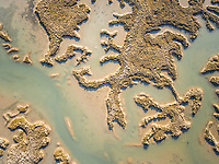 Aerial Photography of the Ria Formosa lagoon, natural Park in the Algarve, Portugal.