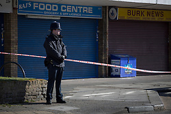 © licensed to London News Pictures. London, UK 02/04/2013. A 19-year-old man was pronounced dead after a shooting on Bounces Road, Edmonton, in north London. Photo credit: Tolga Akmen/LNP
