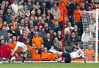 Photo: Chris Ratcliffe.<br />Arsenal v West Bromwich Albion. The Barclays Premiership. 15/04/2006.<br />Alexander Hleb scores the opening goal for Arsenal