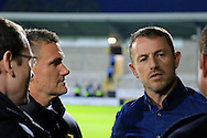 Birmingham City manager Gary Rowett and Sky Sport's Andy Hinchcliffe during the EFL Sky Bet Championship match between Burton Albion and Birmingham City at the Pirelli Stadium, Burton upon Trent, England on 21 October 2016. Photo by Richard Holmes.