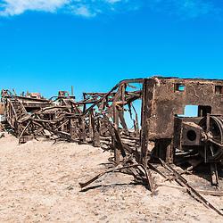 Abandon Oil Rig on the Skeleton Coast, Namibia