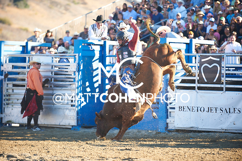 Bull rider Lucas Guilbeau of Golden Meadow, LA rides 804 Muy Caliente at the Rancho Mission Viejo Rodeo in San Juan Capistrano, CA.<br /> <br /> <br /> UNEDITED LOW-RES PREVIEW<br /> <br /> <br /> File shown may be an unedited low resolution version used as a proof only. All prints are 100% guaranteed for quality. Sizes 8x10+ come with a version for personal social media. I am currently not selling downloads for commercial/brand use.