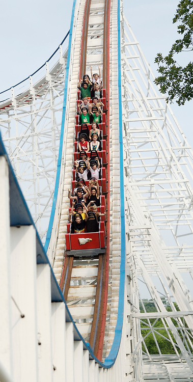 The Screaming Eagle roller coaster at Six Flags St. Louis amusement park in Eureka, Missouri.