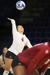 October 7, 2018 - Tucson, AZ, U.S. - TUCSON, AZ - OCTOBER 07: Washington State Cougars libero / defensive specialist Alexis Dirige (4) serves the ball during a college volleyball game between the Arizona Wildcats and the Washington State Cougars on October 07, 2018, at McKale Center in Tucson, AZ. Washington State defeated Arizona 3-2. (Photo by Jacob Snow/Icon Sportswire) (Credit Image: © Jacob Snow/Icon SMI via ZUMA Press)