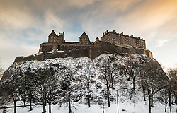 View of Edinburgh Castle after snowfall during winter in  Scotland, United Kingdom