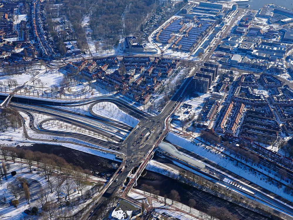 Nederland, Noord-Holland, Amsterdam, 13-02-2021; Amsterdam-Noord, metro station Noorderpark, Noord/Zuidlijn.<br /> Viaduct Johan van Hasselweg (Meeuwenei) en Meeuwenlaan. <br /> luchtfoto (toeslag op standaard tarieven);<br /> aerial photo (additional fee required)<br /> copyright © 2021 foto/photo Siebe Swart