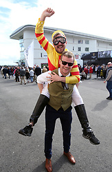 Racegoer on a stag do Andrew Halle (top) with friend Phil McCaffrey during day one of the Galway Summer Festival at Galway Races, Ballybrit Galway. PRESS ASSOCIATION Photo. Picture date: Monday July 31, 2017. See PA story RACING Galway. Photo credit should read: Niall Carson/PA Wire.
